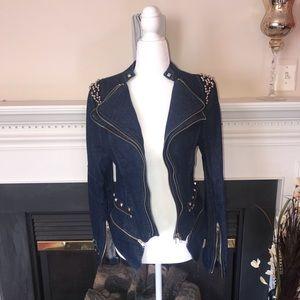 Rehab | Dark Blue Denim Studded Jacket